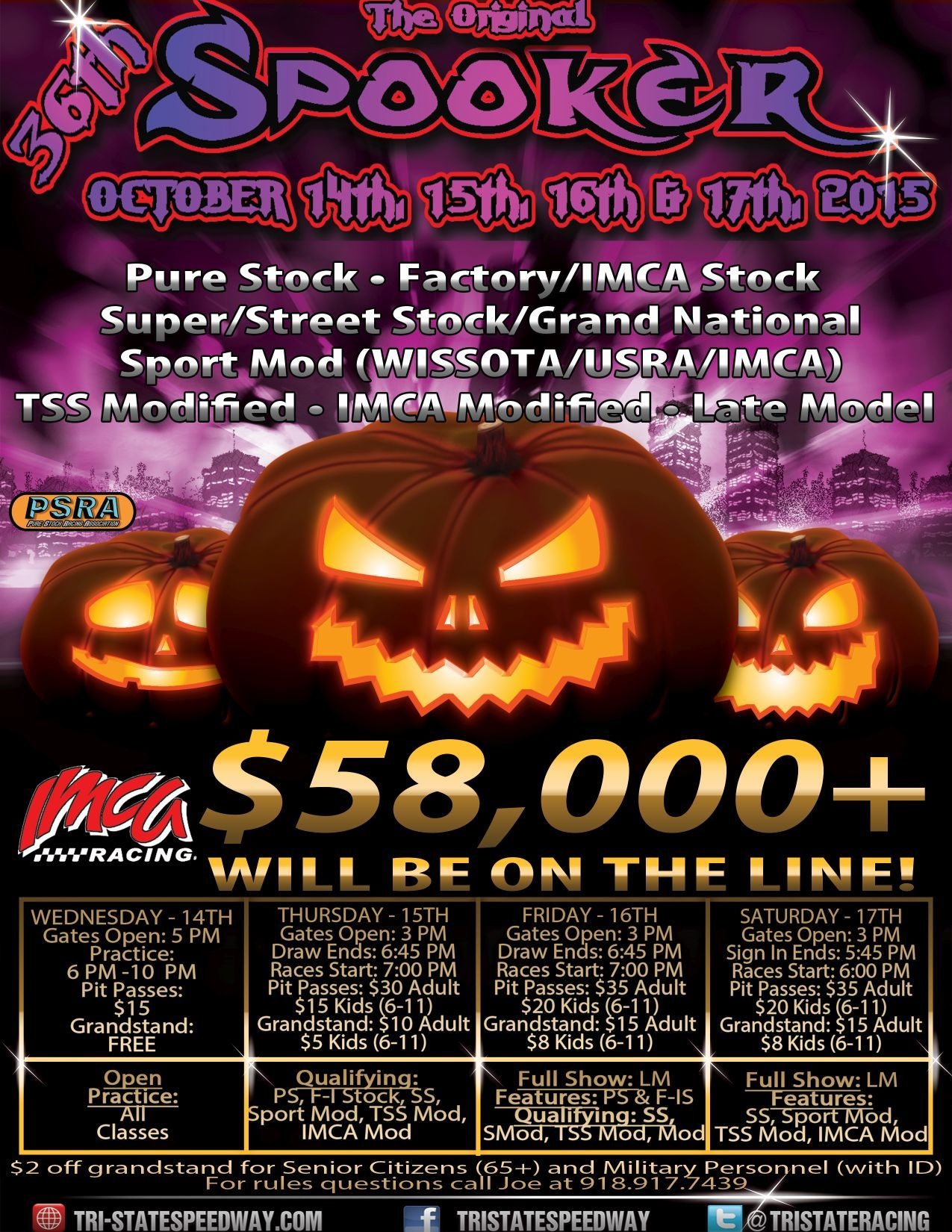 Information Released for the 36th Annual Spooker at Tri-State Speedway!