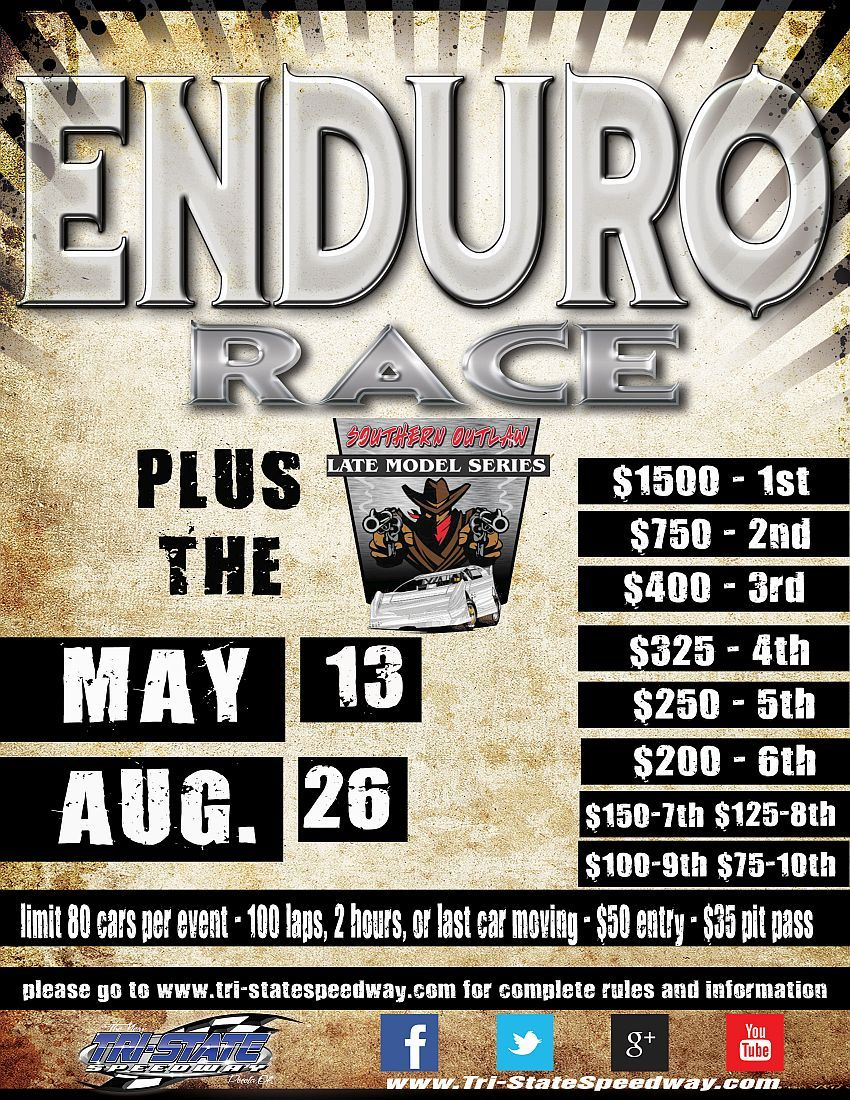 $1,500 to Win Enduro PLUS Southern Outlaw Late Model Series