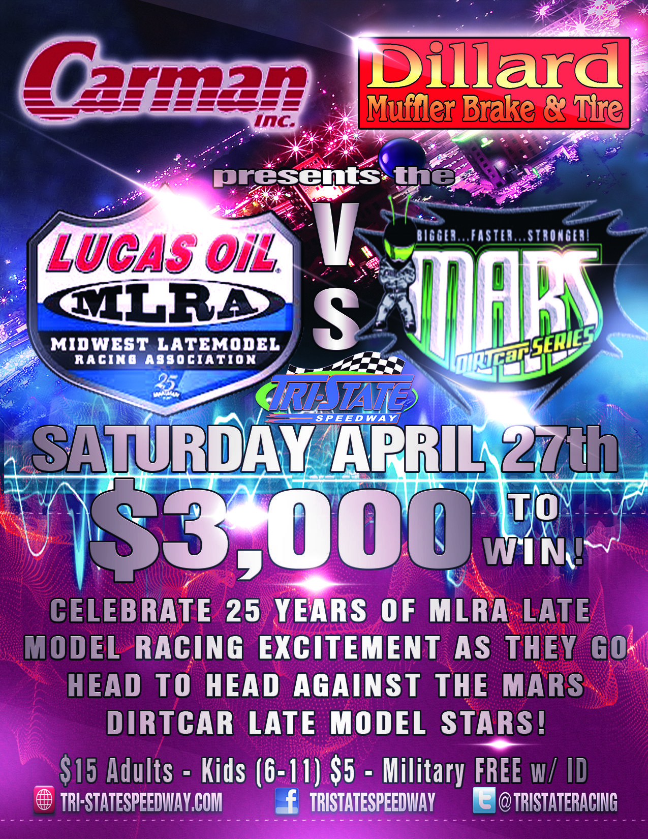 **UPDATE ** Lucas Oil MLRA Late Models vs. MARS DIRTCar Series Late Models
